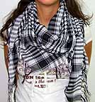 Plaid Check Scarf Black and White Arafat