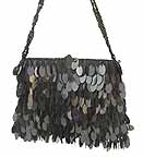 Black Sequin Bag with Strap D