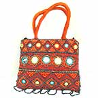 Orange Gypsy Bag with Mirrors and Embroidery E
