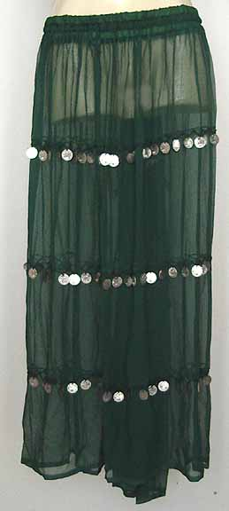 Bellydancing Skirt Green Sheer Chiffon with Coins