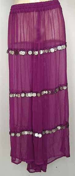 Purple Sheer Chiffon Skirt with Coins