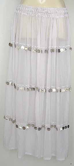 White Sheer Chiffon Skirt with Coins