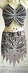 Tribal Belly Dance Costumes Brown Dress AS with Silver Embroidery