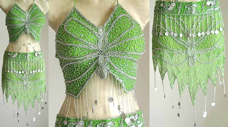 Turkish Belly Dancing Costumes Green AS with Silver Embroidery
