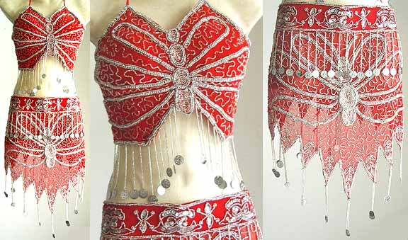 Belly Dance Costumes for Dancers Red AS with Silver Embroidery