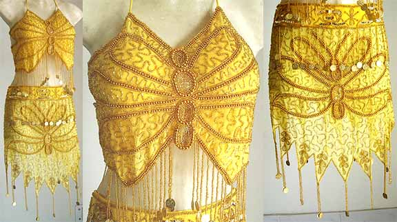 Yellow Belly Dancer Costume A Gold Embroidery
