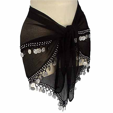 Belly Dancer Hip Scarf Black 2 Lines
