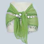 Belly Dancing Hip Scarf 2 Line Green