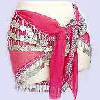 Belly Dancing Hip Scarf Magenta 4 Line with Beads and Coins