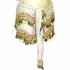 White Belly Dancing Wave Design Hip Scarf 4 Line GOLD Coins