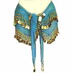 Turqoise Belly Dance Wave Design Hip Scarf 2 Line GOLD Coins