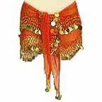 Orange Belly Dancer Wave Design Hip Scarf 2 Line GOLD Coins