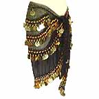 Black Belly Dancing Wave Design Hip Scarf 4 Line GOLD Coins