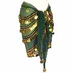 Hand Made Belly Dancing Hip Scarf Dark Green 4 Circular Line