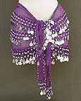 Purple Belly Dance Belt 3 Lines of Beads and Coins
