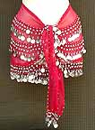 Red Belly Dance Belt 3 Lines of Beads and Coins