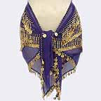 Gold Coin Blue Belly Dancing Hip Scarf 4 Lines Beads and 750 Coins
