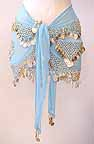 Shakira Sky Blue Belly Dance Wrap 3 Lines of Beads and Coins