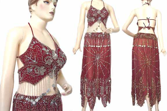 Maroon Belly Dancing Costume Dress BBA