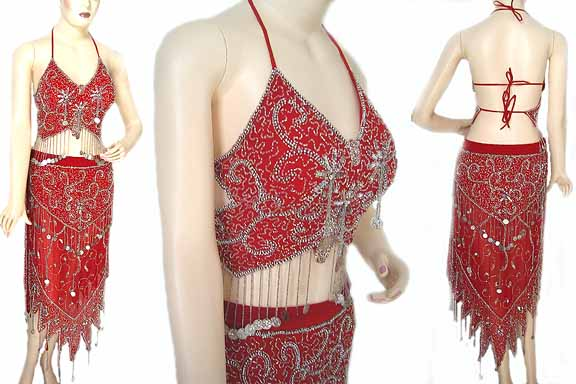 Red Belly Dancing Costume Dress BCB
