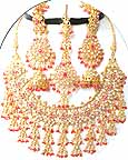 Gold Diamond Bollywood Necklace and Earring Sets JVS-30