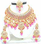 Gold Diamond Bollywood Indian Jewelry Set JVS-38