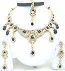 Gold Diamond Bollywood Indian Jewelry and Clothing Set JVS-39