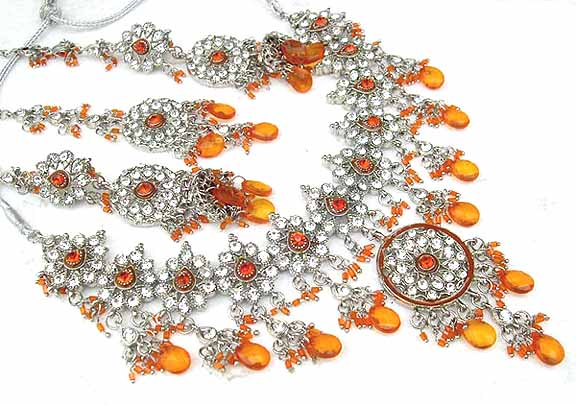 Bridal Jewelry Set Citrine Diamond 4 Pcs JVS-71