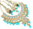 Bridal Jewelry Set Blue Topaz Diamond 4 Pcs JVS-73