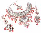 Bridal Jewelry Set Ruby Diamond 4 Pcs JVS-77