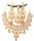 Bridal Jewelry Set Pink Tourmaline 4 Pcs JVS-79
