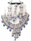 Bridal Jewelry Set Tanzanite Diamonds 4 Pcs JVS-81