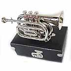 New Silver Pocket Trumpet Cornet with Case