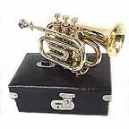 New Brass Pocket Cornet Trumpet with Case